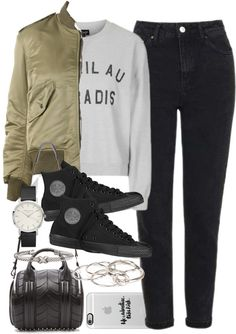 Outfit for uni with a bomber jacket by ferned featuring diamond bangles Topshop gray sweatshirt, 26 AUD / Yves Saint Laurent green bomber jacket, 4 485 AUD / Topshop high rise jeans, 70 AUD / Converse black shoes, 93 AUD / Alexander Wang duffle bag,...