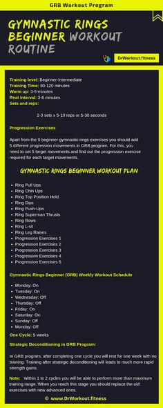 Gymnastic Rings Workout Routine for Beginners (GRB Workout) Calisthenics Workout Program, Calisthenics Workout For Beginners, Workout Routines For Beginners, Workout Programs, Calisthenics Women, Roller Workout, Gym Workout Tips, Street Workout, Gymnastics Training