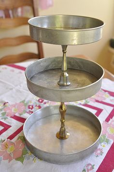 diy three tiered stand (cake pans and candlesticks)