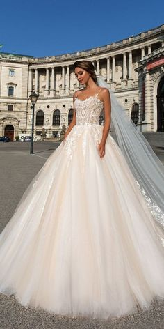 Wedding Dress Ball Gown crystal design 2018 spaghetti strap sweetheart neckline heavily embellished bodice romantic ivory ball gown wedding dress chapel train (carol) mv - View the gorgeous gowns from three stunning collections! Wedding Dresses 2018, Princess Wedding Dresses, Colored Wedding Dresses, Designer Wedding Dresses, Bridal Dresses, Gown Wedding, Lace Wedding, Wedding Blush, Crystal Wedding