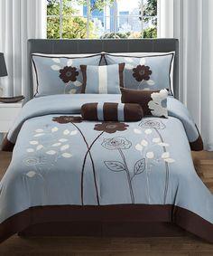 Blue & Chocolate Adrienne Comforter Set