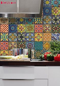 """Bleucoin Mexican Talavera Tile Sticker For Kitchen and Bathroom Backsplash , Removable Stair Riser Peel & Stick Vinyl Decal, 22 Designs, Pack of 44, Size: 4"""" x 4"""""""