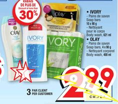 Coupons et Circulaires: 0,50$ IVORY GEL DOUCHE