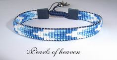 gewebtes Armband bead loom in blau mit Miyuki Delicas
