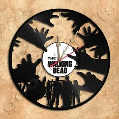 Walking Dead Vinyl Record Clock Upcycled Gift Idea by geoartcrafts