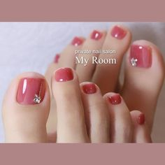 Autumn Transparent Wedding Bride Toe Nail Colors Peach Pink Stud Accent Nails – My CMS Fall Toe Nails, Pretty Toe Nails, Cute Toe Nails, Summer Toe Nails, My Nails, Fake Gel Nails, Toe Nail Color, Fall Nail Colors, Toe Nail Art