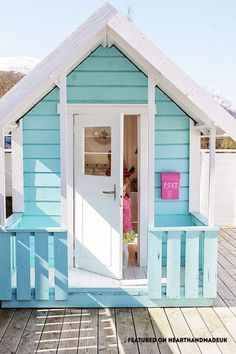 Pretty little play shed for girls - In Need Of Shed Color Ideas?! British bunting on a garden shed. A beautiful shabby chic garden shed.