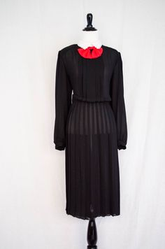 Vintage 1980's 'Wednesday Mourning' Semi - Sheer Black Dress With Peter Pan Collar and Red Bow Detail Size M / L by BeehausVintage on Etsy