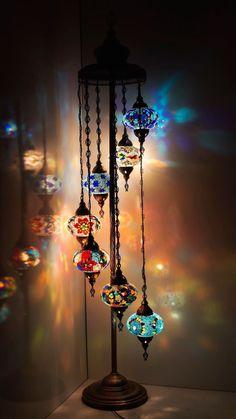 "Customizable FLOOR Lamp – Turkish Moroccan Mosaic Floor Tiffany Night Light 7 Globes – 59 "" - All For Decoration Turkish Lamps, Moroccan Lamp, Moroccan Lanterns, Turkish Lights, Turkish Decor, Lampe Retro, Pendant Chandelier, Night Lamps, Hanging Lights"