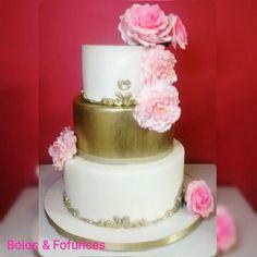 Bolo de casamento dourado Wedding golden cake