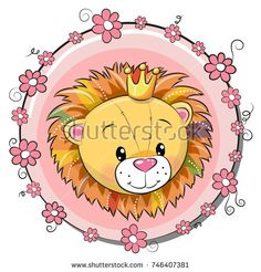 Illustration of Greeting card cute cartoon lion with flowers, vector illustration. vector art, clipart and stock vectors. Lion Vector, Free Vector Art, Cartoon Lion, Cute Cartoon, Colorful Pictures, Cute Pictures, Royal Icing Templates, Chinese Cartoon, Cute Lion