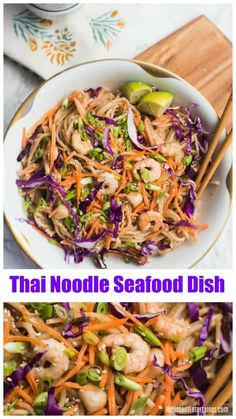 Thai Noodle Seafood Dish is made with rice noodles, your favorite seafood, and plenty of fresh vegetables! Healthy and springy, we love this for lunch or dinner!