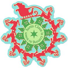 This festive Santa Claus is Coming to town snowflake designed by Samantha Walker features Santa and his nine reindeer flying over a small town. It comes as a digital download kit that includes a PNG version you can print with your home printer to make into a poster or framed print, an SVG cutting file for your electronic cutting machine, and a Cricut Explore Design Space compatible SVG cut. $2.50