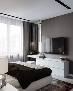 60 best master bedroom ideas that you'll fall in love with it 51 is part of Interior design bedroom - 60 best master bedroom ideas that you'll fall in love with it 51 Related Modern Bedroom Design, Room Interior Design, Master Bedroom Design, Home Decor Bedroom, Bedroom Ideas, Bedroom Tv, Bedroom Interiors, Master Bedrooms, Bedroom Storage
