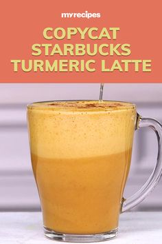 Skip the coffee line and make your own trendy golden latte at home. This Starbucks Tumeric Latte copycat recipe is seriously easy, you'll want to make a second cup. Ginger Coffee, Tumeric Latte Recipe, Turmeric Recipes, Turmeric Drink, Turmeric Health, Tea Recipes, Coffee Recipes, Cooking Recipes, Healthy Recipes