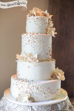 White Wedding Cake with Colorful Pearls