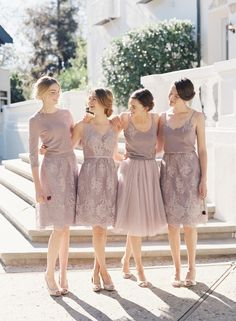 We are loving Jenny Yoo's fresh take on bridesmaids with mix and match separates, including dresses, crop tops, tulle skirts and cardigans