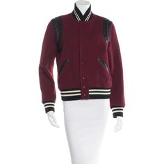 Pre-owned Saint Laurent Virgin Wool Teddy Jacket (485 KWD) ❤ liked on Polyvore featuring outerwear, jackets, burgundy, varsity jacket, college jacket, varsity bomber jacket, varsity-style bomber jacket and burgundy jacket