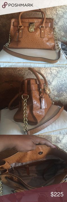 Michael Kors ostrich Caramel Bag Ostrich Leather Michael Kors purse- Leather handles or gold chain and leather shoulder straps. Barely used. Michael Kors Bags Satchels