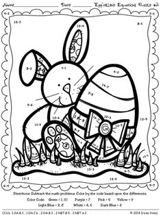 """""""Egg""""cellent Equations ~ Math Easter and Spring Printables Color By The Code Puzzles To Practice Addition And Subtraction Skills ~This Unit Is Aligned To The CCSS. Each Page Has The Specific CCSS Listed.~ This set includes 4 Easter themed math puzzles to practice math skills. Skills Covered: ~ Adding Three Numbers ~ Addition and Subtraction Facts Answer Keys Included. $"""