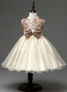Ball Gown Empire Jewel Knee-length Bow(s) Sequined Cotton Blends Sleeveless Flower Girl Dress Flower Girl Dress
