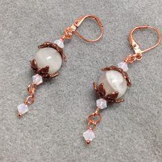 New rainbow moonstone, Swarovski  crystal & copper earrings