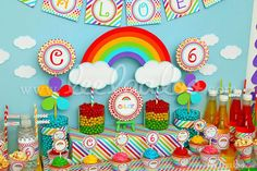 Amazing rainbow dessert table at a birthday party!  See more party planning ideas at CatchMyParty.com!