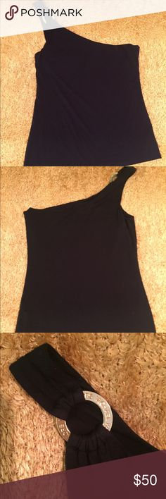 Michael Kors Top Stunning one shoulder black stretch top, round gold logo closure on right strap, built in bandeau bra band, can be worn casual to dressy, runs between M/L, in good condition MICHAEL Michael Kors Tops