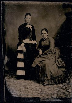 6b9c11612c Photo is an original vintage tintype photo of 2 women ~one on left appears  pregnant but also wearing a distorted bustle to accomodate the pregnancy