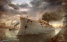 Chester сruiser wallaper. Steam punk. Made for World of Warships http://wiki.wargaming.net/ru/Navy:USS_Chester_(1907)