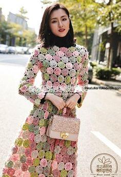 Dress With Cardigan, Knit Dress, Easy Crochet, Knit Crochet, Crochet Flower Patterns, Sewing Patterns, Jumpsuit Pattern, Crochet Magazine, Dress Picture