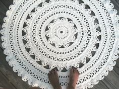 "Soft Ecru Off White Cotton Crochet Rug in Large 41"" Circle Pattern Non Skid. $120.00, via Etsy."