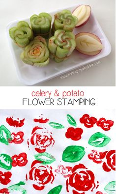 Flower stamping with celery and potatoes (I think I might use okra slices instead of bound celery for the flowers ... or in addition to!)