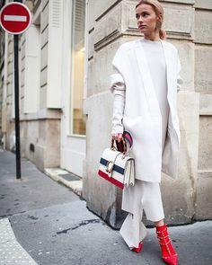 Winter whites and a bold shoe. #theyarewearing (📷: @kukukuba)