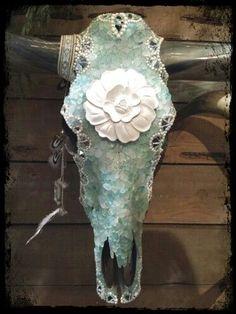 Beautifully embellished cattle skull...