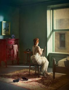 Real people in doll house set. Incredible Composite Photographs Inspired by Edward Hopper.