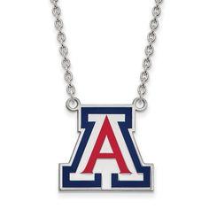 LogoArt Sterling Silver University Of Arizona Large Enamel Pendant Necklace Chain Included
