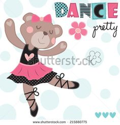 dance pretty teddy vector illustration