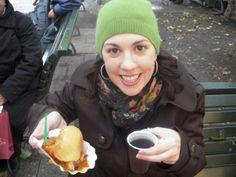 The adventurous Jen eating street food in Berlin