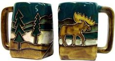 Mara Stoneware Square Mug - Moose. Mara stoneware is beautifully designed Southwest style tableware decor for your kitchen & dining area. Ceramic Tableware, Southwest Style, London Art, Art Studies, Geometric Designs, Famous Artists, Line Drawing, Stoneware