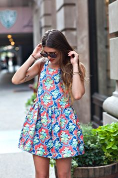 New York City Fashion and Personal Style Blog: Floral bubble dress, bucket bag, buckle sandals