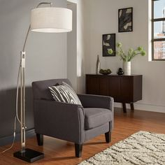 MID-CENTURY LIVING Brushed Nickel Arched Adjustable Floor Lamp | Overstock.com Shopping - The Best Deals on Floor Lamps