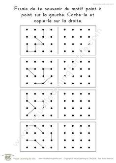 Dans les fiches de travail « Mémorisation motifs points (4x4) » l'élève doit retenir le design point-à-point sur la gauche pour pouvoir le recopier sur la droite, de mémoire.)