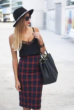 Grunge look flannel skirt