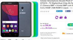 """Smartphone Alcatel Pixi4 Colors TV Digital Dual Chip 3G Tela 5"""" Câmera 8MP  frontal 8MP com flashQuad Core 16GB 1GB RAM3 capas << R$ 39890 em 10 vezes >>"""