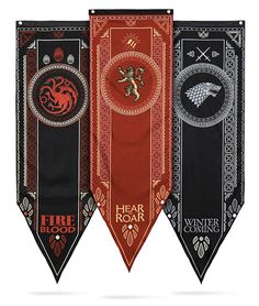 Five feet long, these Game of Thrones Tournament House Banners come in just about as tall as Arya. Choose Lannister, Stark, or Targaryen. Each single-sided design includes both the house sigil and words.