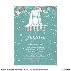 White Bunny & Flowers | Pink & Teal Kids Birthday 5x7 Paper Invitation Card