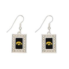 "Iowa Hawkeyes 1 1/2"" Silver Tone Earrings Rectangular Shaped Iowa Logo with Clear Crystal Rhinestones Judson http://www.amazon.com/dp/B00LTETGOC/ref=cm_sw_r_pi_dp_Pts4tb0XCWSJ7"