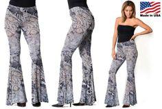 NEW-Womens-Wide-Flared-Paisley-Animal-Print-Bell-Bottom-Pants-Gray-S-M-L-Boho