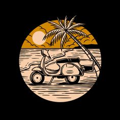 Scooter in the beach Premium Vector Vespa Vector, Arte Zombie, Surf Drawing, Tiki Art, Graphic Design Pattern, Line Illustration, Badge, Character Design, Sketches